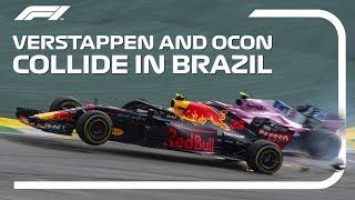 Verstappen And Ocon Collide   2018 Brazilian Grand Prix