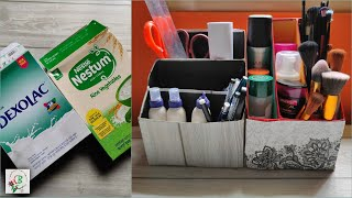 Easy Desk Organizer DIY Using Cereal Boxes | Best Out Of Waste Craft Ideas