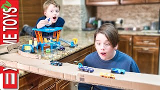 Sneak Attack Squad Cardboard Racing Fun! Featuring The Dinoco Color Changers Car Wash!!