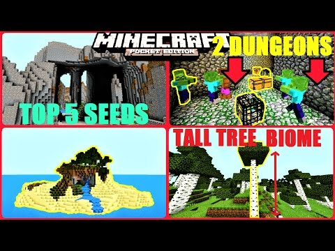Minecraft PE - TOP 5 BEST SEEDS EVER ! TRIPLE MESA VILLAGE