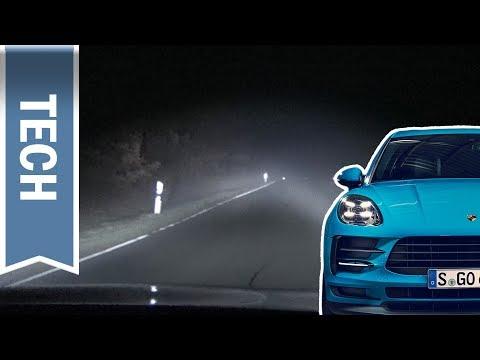 LED Scheinwerfer im Porsche Macan: Porsche Dynamic Light System (PDLS+) bei Nacht & Nebel