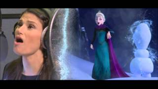 "Idina Menzel recording ""Let it Go"" and Kristen Bell recording ""For the First Time in Forever"""