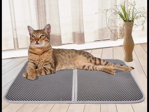 Большой коврик для кошачьего туалета/лотка двухслойный водостойкий 46 х 60 см EVA Cat Mat серый (СМ-28470) Video #1