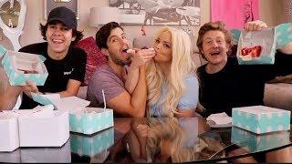 EPIC CAKE MUKBANG FT Trisha Paytas, David Dobrik and Jason Nash!