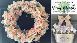 Dollar Tree DIY Farmhouse Floral Wreaths|Spring Or Summer Home Decor|Measure & Mix