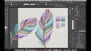 Embroidered Feather Illustration In Adobe Illustrator + Free Illustrator Brushes