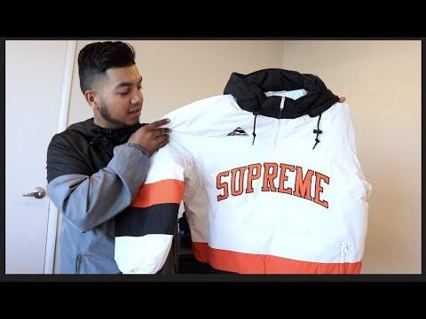 Supreme hockey puffer hoodie.
