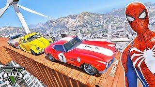 CARROS com Homem Aranha e Heróis! Desafio com Carros Super Clássicos - GTA V Mods - IR GAMES