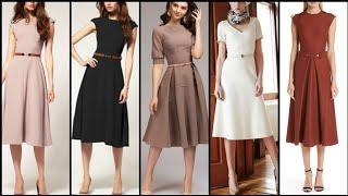 Gorgeous And Elegant Plain Simple ALine /Skater Dress Design /Midi Dresses For Stylish Girls