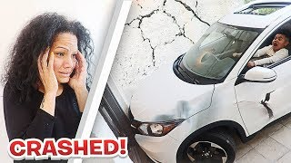 11 YEAR OLD KID CRASHES MOM'S CAR INTO HOUSE!!!