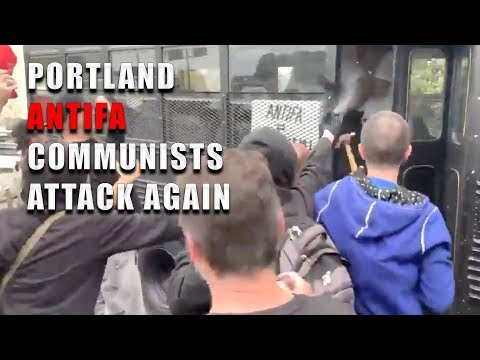 Portland Antifa Communists Attack Bus With A Hammer (Slow Motion) | Aug 17, 2019