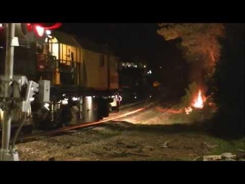 Loram Rail Grinder Shooting Sparks & Setting Fires