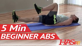 5 Min Beginner Ab Workout for Women & Men - HASfit Easy Core Exercises - Easy Ab Workouts - Easy Abs by HASfit