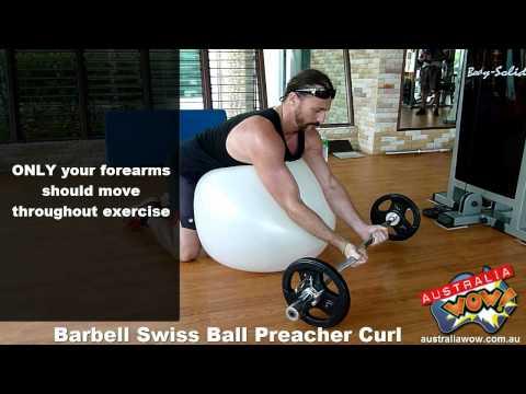 Barbell Swiss Ball Preacher Curl