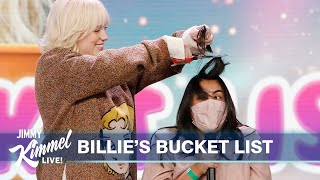 Jimmy Kimmel Helps Billie Eilish Cross Items Off Her Bucket List