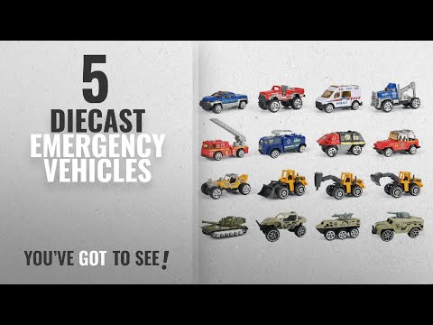 Top 10 Diecast Emergency Vehicles [2018]: 16 Piece Mini Diecast Assortment Vehicles Gift Pack Play