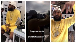 Nipsey Hussle Pops Up In Harlem At JimmyJazz Store For His Puma X Marathon Clothing