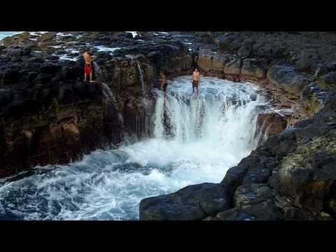 "Video Queen's Bath - Kauai, HI.  Crazy kids ""Shoot the Ball"""