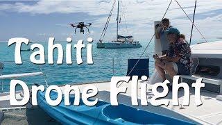 Flying a drone in Bora Bora Tahiti off of a sailboat