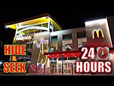 24 HOUR OVERNIGHT CHALLENGE IN WORLD'S BIGGEST MCDONALDS!!(*HIDE & SEEK*)