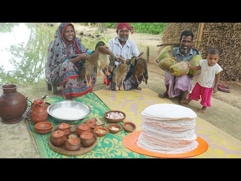 VILLAGE STYLE COOKING | DUCK MEAT WITH COCONUT RECIPE | DELICIOUS HANDMADE RUTI CURRY | VILLAGE FOOD