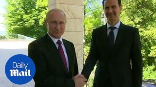 Putin and Assad congratulate each other during talks over Syria - Daily Mail - Video Youtube