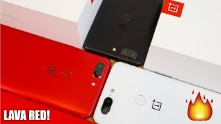 OnePlus 5T Lava Red Unboxing vs Sandstone White and Midnight Black!