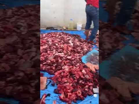 فيديو متداول.. عمالة وافدة تقوم بتقطيع اللحوم ودهسها في