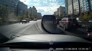 Выезд на встречную полосу. г. Астана 17.09.2018