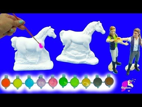 Painting Plaster Rainbow Fantasy + Appaloosa Horses For 2 Schleich Girls – Craft DIY Video
