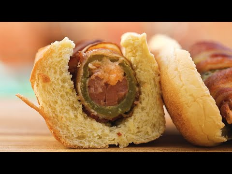 Bacon-Wrapped Jalapeño Popper Dogs