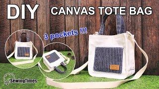 DIY Canvas Tote Bag | 캔버스 미니 에코백 | Bag Making Tutorial | Bolso De Mano 布バッグ 托特包 [sewingtimes]