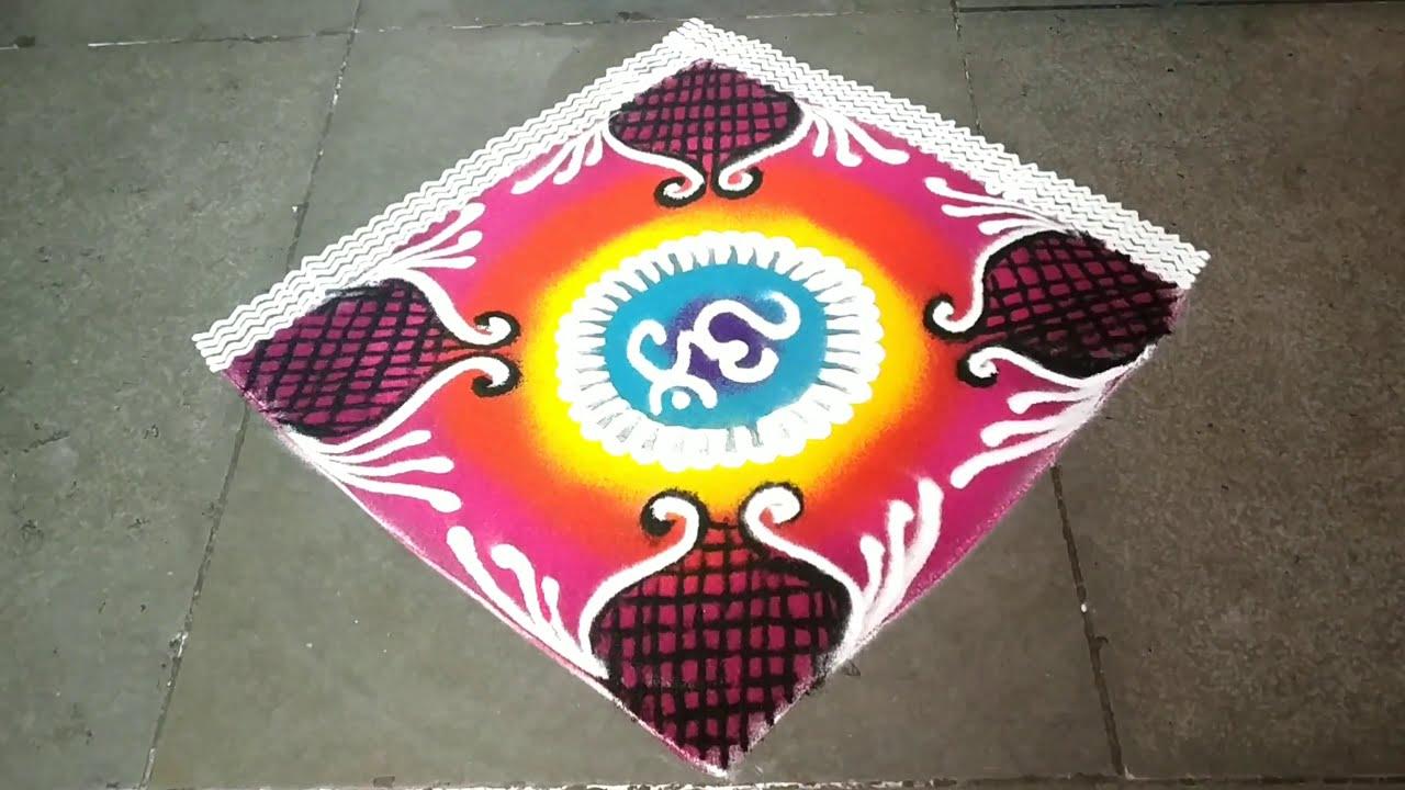 colorful sanskar bharti rangoli design by jyoti