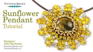 Sunflower Pendant- DIY Jewelry Making Tutorial By PotomacBeads
