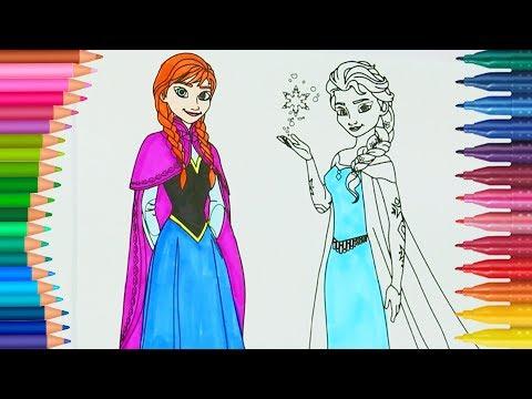Frozen Anna Ve Elsa Boyama Boyamalar Boyama Kitabı Rainbow
