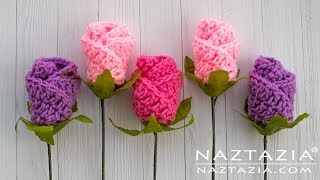 How To Crochet Simple Origami Rose Flower - Easy Trick By Naztazia