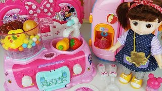 Baby doll kitchen refrigerator and food cooking toys Mini mouse play - 토이몽