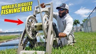 DIY HOSE CADDY REEL Worlds BIGGEST Fishing Rod