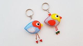 DIY - How To Make A Colorful Felt Bird Keychain | Hướng Dẫn Làm Móc Khóa Vải Nỉ Hình Con Chim