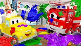 малыши в Автомобильном Городе - Битва красками - детский мультфильм