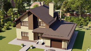 Проект дома 201-C, Площадь дома: 201 м2, Размер дома:  14,4x13,2 м