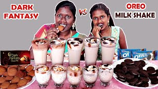 OREO MILKSHAKE Vs DARK FANTASY MILKSHAKE DRINKING COMPETITION IN TAMIL FOODIES DIVYA Vs ANUSHYA