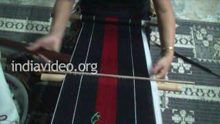 Weaving of Naga shawl, Nagaland