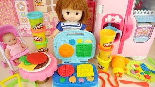 Play doh cooking and baby doll hamburger kitchen play house