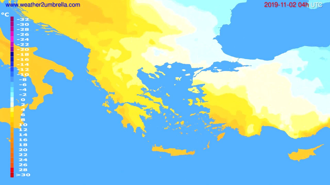 Temperature forecast Greece // modelrun: 00h UTC 2019-11-01