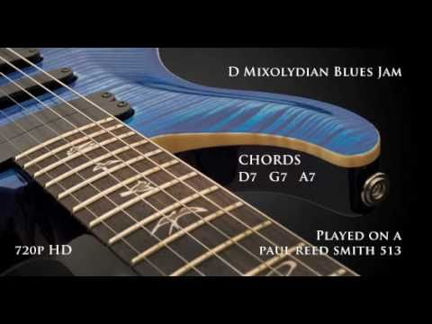 Blues Jam Backing Track in D / G / A  Mixolydian. Stereo (D7, G7, A7 chords) PRS 513