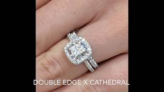 Cushion Cut Diamond Cathedral Halo Engagement Ring