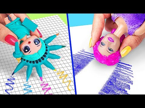 9 Weird Ways To Sneak Barbie Dolls Into Class / Clever Barbie Hacks And LOL Surprise Hacks