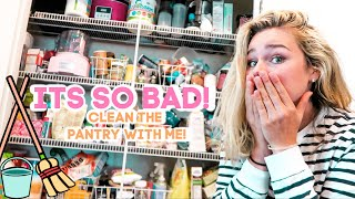 CLEAN & ORGANIZE THE PANTRY WITH ME // IT'S A DISASTER! *fall cleaning*