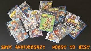 20 WORST to BEST Crash Bandicoot Games (20th Anniversary Special) #CrashBandicoot20th